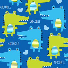 seamless crocodile pattern vector illustration