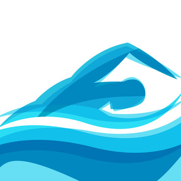 Background with abstract stylized swimming man. Sport concept for advertising, branding, illustration