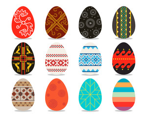 Set of isolated Easter eggs on a white background. Vector illustration