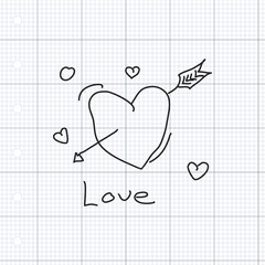 Simple doodle of a love heart