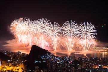 Foto op Canvas Rio de Janeiro Famous New Year Firework Display in Copacabana Beach in Rio de Janeiro