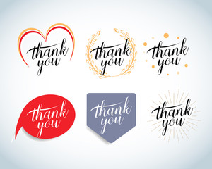 Thank you vintage labels, cards, badges, t-shirt apparel,  design set. isolated Vector illustration.