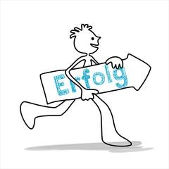 Erfolg Strichmännchen mit großem Pfeil und Beschriftung rennt zum Ziel - Illustration Zeichnung Vektor Grafik Vorlage Motiv