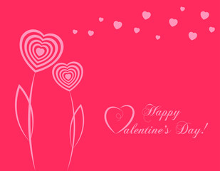 Banner for design posters or invitations on Valentine's Day with cutest  hearts symbol as abstract flowers and title. Vector illustration.