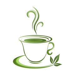Tea cup icon green grad