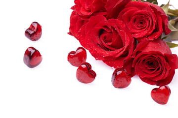 red hearts and roses on white