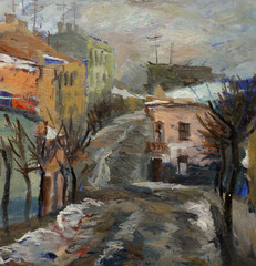 Beautiful Original Oil Painting Landscape On Canvas with houses on the street in the style of Impressionism