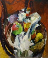 Beautiful Original Oil Painting of  still life  bottle of apple pear on a fabric on a chair On Canvas in the style of Impressionism