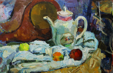 Beautiful Original old Oil Painting of  still life  mantel clocks, apples, fabric On Canvas in the style of Impressionism