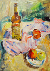 Beautiful Original Oil Painting of  still life  glass; bottle; tray;  apple; fabric; shade On Canvas in the style of Impressionism