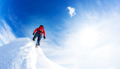 Mountaineer arrive at the summit of a snowy peak. Concepts: dete