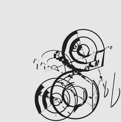 circle shape, brush stroke ink background