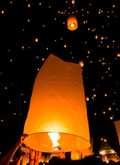 Floating lantern in Loy Kratong festival, Chiangmai province of Thailand