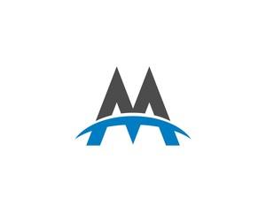 Blue Curve M Letter Logo