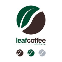 Coffee Logo-Bean Coffee And Leaf Creative Design Logo Vector