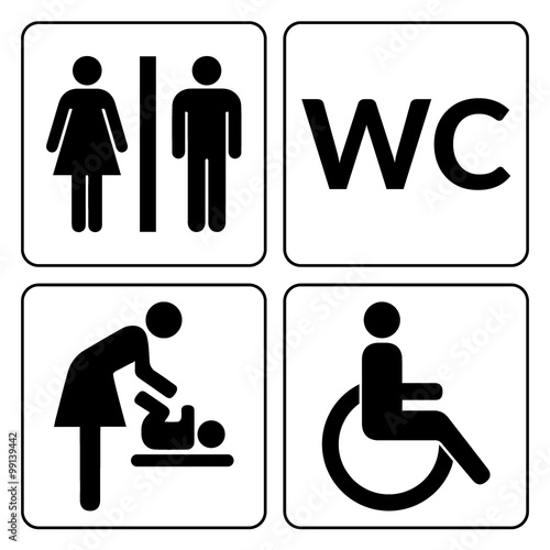 WC Signs Set Man Woman Mother With Baby And Handicapped Silhouettes Isolated On