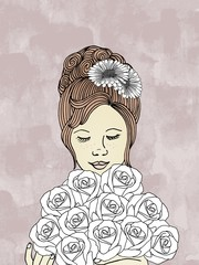 Hand drawn woman with bouquet of roses
