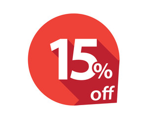 15 percent discount off red circle