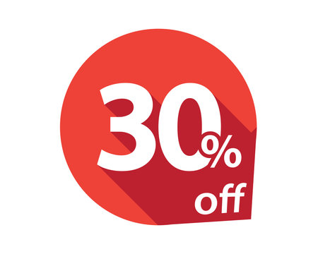 30 percent discount off red circle