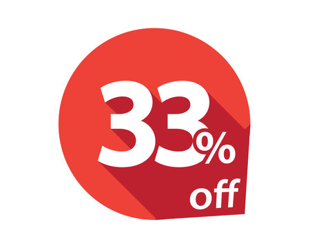 33 percent discount off red circle
