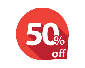 50 percent discount off red circle