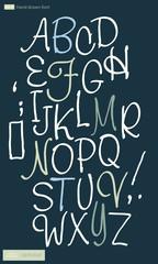 vector illustration of cursive alphabet.