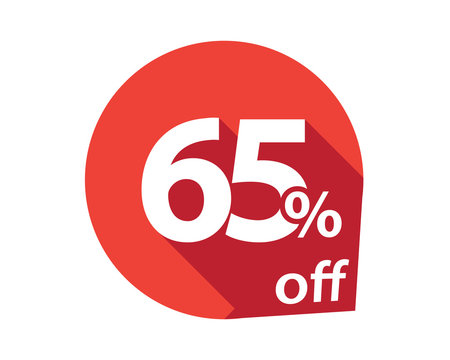 65 percent discount off red circle