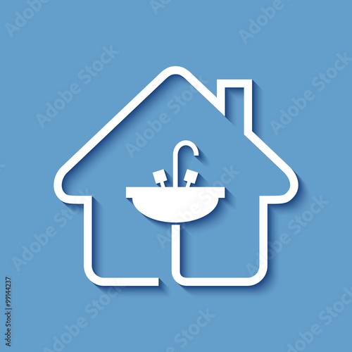 Logo maison et consommation eau fichier vectoriel libre for Consommation eau maison