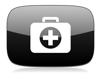 first aid black glossy web modern icon