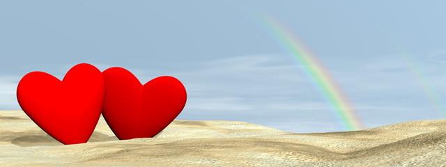 Couple love under rainbow - 3D render