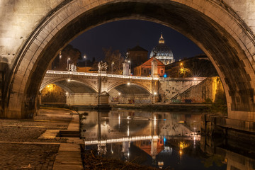 Wall Mural - Rome, Italy: St. Peter's Basilica and Saint Angelo Bridge