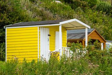 Beautiful Bathing houses on the British beach, Scotland, Uk
