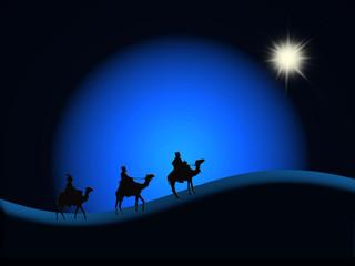 Reyes Magos, Navidad, desierto, cielo azul, fondos, estrella, esfera