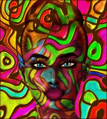 Colorful swirls create an abstract effect for this beautiful woman's close up face. Modern digital art image of a woman's face, close up with colorful abstract background.