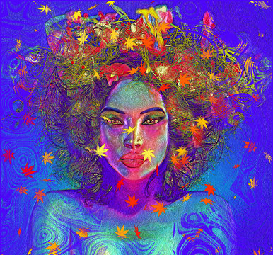 Colorful leaves and swirls create an abstract effect for this beautiful woman's close up face. Modern digital art image of a woman's face, close up with colorful abstract background.