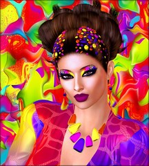 Brilliant colors adorn this fashion image of a woman. This is a very unique digital art design, loaded with bold and vibrant colors of fashion.