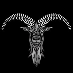 Goat abstract vector on black background