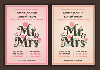 Mr and Mrs title with flower wedding invitations template. Peach and old rose color tone wedding invitation.vector illustration