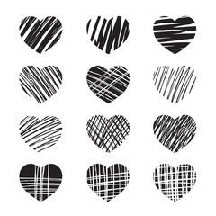 Set of black hearts. Vector Illustration for valentine's day.