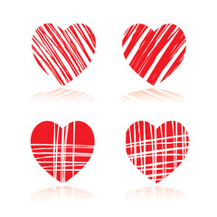 Set of RED hearts. Vector Illustration for valentine's day.