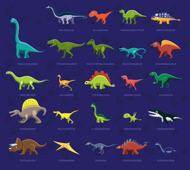 Various Dinosaur Side View Cartoon Vector Illustration