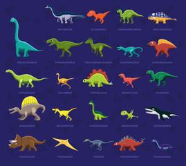 Various Dinosaur Side View Cartoon Vector Illustration