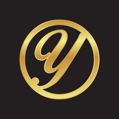 circle initial letter logo GOLD