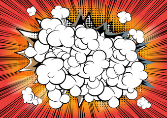 Retro style orange, brown comic book background with clouds.