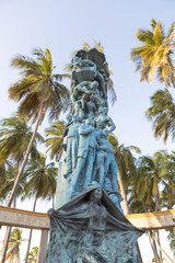 Sculpture in Riohacha with blue sky, Colombia