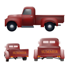 Retro pickup car old vector design set