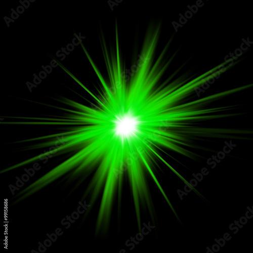 Esplosione Di Luce Verde Su Sfondo Nero Stella Di Luce Verde