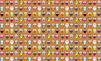 Seamless background of cartoon owls.. EPS 10.