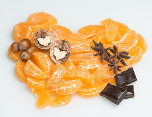 orange heart with nuts and chocolate