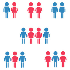 set of heterosexual, homosexual: gay and lesbian, bisexual symbols, pink and blue woman and man isolated vector